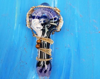 Blue wire wrap pipe with tiger's eye beads