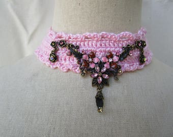 soft pale pink Choker and rhinestones