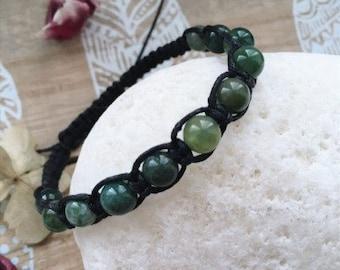 macramé braided bracelet with musky agate beads