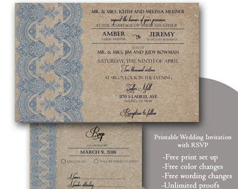 Dusty Blue Wedding Invitations/Kraft paper wedding invitations/Lace/ printable Wedding Invitation with RSVP/template download