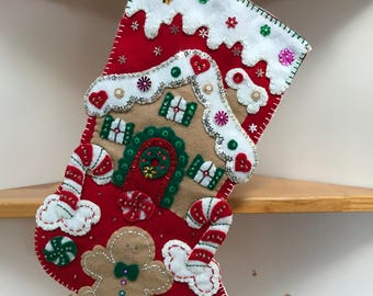 Pre-order 2018 Finished Bucilla Gingerbread House Christmas stocking
