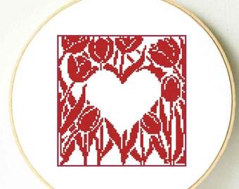 Mother's Day cross stitch pattern. Heart cross stitch. Tulips cross stitch flowers. Flower Gift for Mom, Sister birthday. Heart Wedding gift