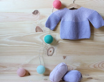 Baby knit sweater with yoke round hand knitted with mauve and lilac wool
