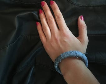 Jeans bracelet / accessory / coated metal with jeans, diameter approx. 6.5 cm