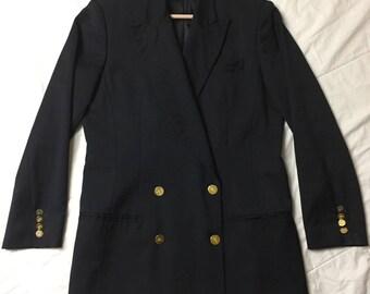 Vintage Burberry Blazer. Burberry Blazer. Women. Size 10. 90s Burberry. Vintage Burberry. Burberry Jacket. Black. Gold. Burberrys. Designer