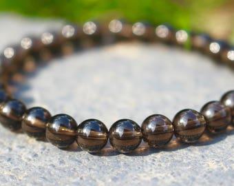 Root Chakra ॐ Smoky Quartz Mala Bracelet
