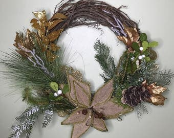 Gold Green Winter Wreath