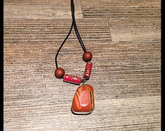 Necklace with stone semi precious red Jasper
