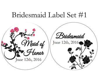 Bridesmaid favor stickers, custom text, gothic wedding, custom label, custom sticker favors, black rose stickers, pink rose
