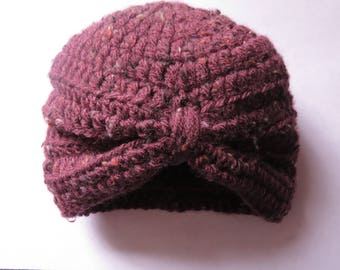 Infant turban style crochet hat--Burgundy--3 to 6 month