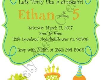Dinosaur Birthday Invitations, Dinosaur Invite