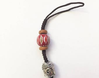 buddha head beads jewry keychain charm cellphone attachment strap lanyard