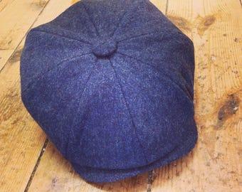 Mister Miller - ALBERT - Navy Blue Lambswool Tweed Newsboy Cap - Peaky Blinders Style - Mens Wool Cap - All Sizes
