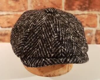 Mister Miller - ALBERT - Chunky Herringbone Wool Tweed - Black and White - Newsboy Bakerboy Cap - Peaky Blinders