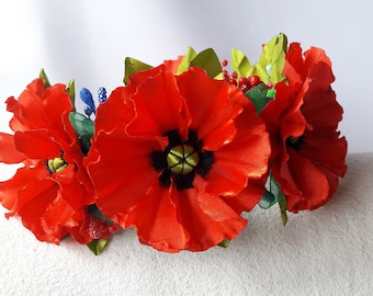 Hair wreath with poppies