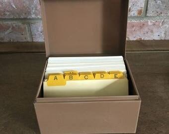 Vintage Metal Industrial Index Card Box