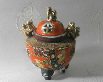 Japanese hand painted vase/urn/pot /incense burner pot/Vintage/1930s/Japan