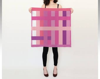 Pink rectangles silk scarf