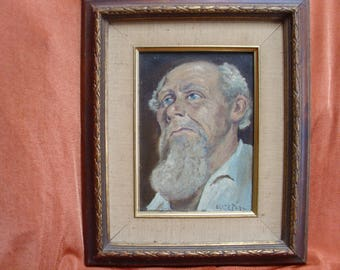 Oil on canvas painting of an old man with blue eyes