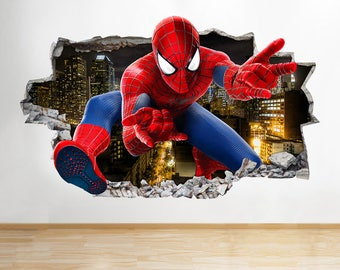 H135 Spiderman Kids Smashed Boys Wall Decal Poster 3D Art Stickers Vinyl  Room Kids Bedroom Baby