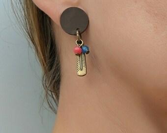 Feather earrings, dangle leather earrings, natural stone earrings, boho earrings for women, Bohemian earrings, agate earrings, cute earrings