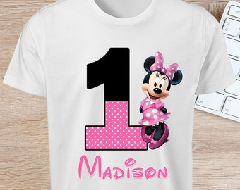 ON SALE 30%Minnie Mouse 1st Birthday Iron On T-shirt Transfer