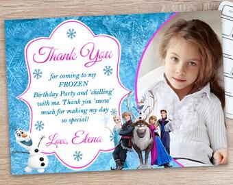 Disney Frozen Thank You Card - Disney Frozen Birthday Party Printables - Olaf Thank You Card - Elsa and Ana Birthday Party Thank You Card