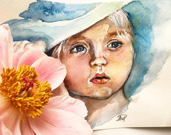 "Watercolour painting girl portrait illustration on paper drawing original ""Young lady"""