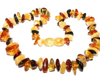 Genuine Baltic Amber Baby Teething Necklace Multicolor Chips Style