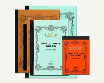 Life Noble Note - grid notebook, blank notebook, ruled notebook, notebook set, Japanese stationery, Japanese gifts, A4, B5, A5, B6, B7, memo
