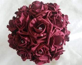 Burgundy foam rose brides bouquet Asian Inspired