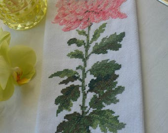 Pink Chrysanthemum. Counted Cross stitch picture.