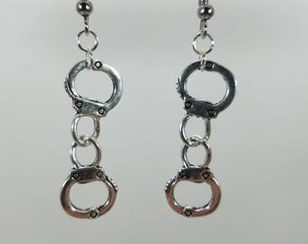 Silver handcuff dangle earrings