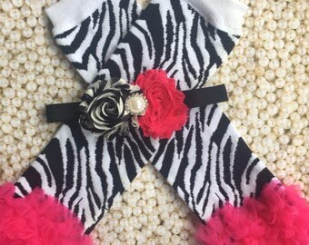 Hot Pink and white zebra leg warmers with matching flower headband/ baby leg warmers/Animal print leg warmers