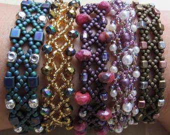 Purple Woven Seed Bead Bracelet