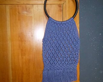 rope bag blue round handles