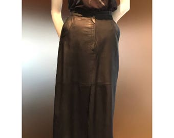 Vintage leather skirt high waisted, ultra thin leather