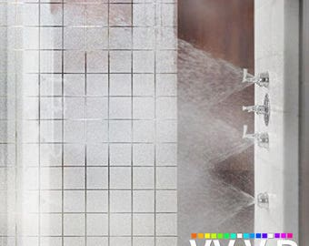 Privacy Window Decal Contact Paper Sticker Film White Frosted Squares Static Non-Adhesive Decorative Bathroom Wrap VViViD