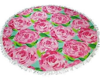 60 Inch Fringe Round towel with monogram