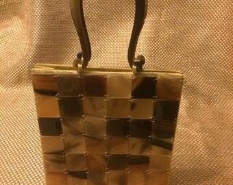 ON SALE Vintage tortoise lucite tile purse