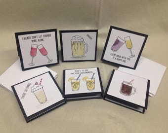Mixed Drinks Note Cards, 3x3 Note Cards, Blank Notecards, stamped Note Cards, Handmade Note Cards