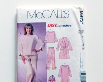 Woman's Nightgown, Pajamas, Slippers & Bathrobe -McCall's Pattern  M4721 - Uncut