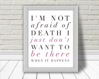 Woody Allen, Art mural, Quote, humour, Printable Poster, Typography, Affiche Murale, Home decor, death, Download