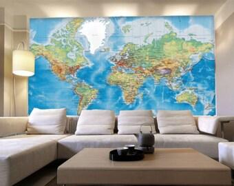 3d wereldkaart etsy - Deco schilderij slaapkamer kind ...