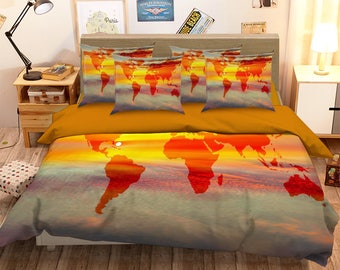 World map bedding etsy 3d sunset world map 126 bedding bed pillowcases quilt duvet cover set twin single size full gumiabroncs Gallery