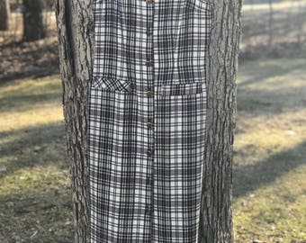 vintage plaid button down a line midi dress size 9/10