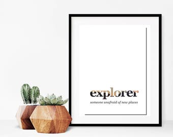 Explorer definition art print - travel inspired home decor - instant digital download - A4 - minimal wall art