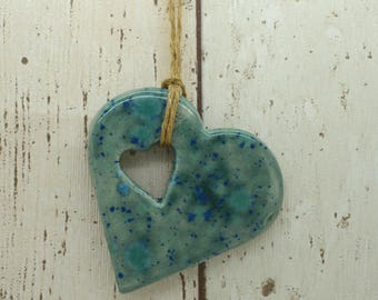 Handmade Ceramic Glazed Hanging Heart