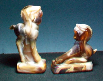 Two Carmel Slag Imperial HCA Colts Heisey Mold