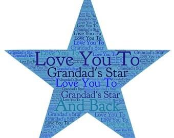 Personalised Framed Star Word Art Print
